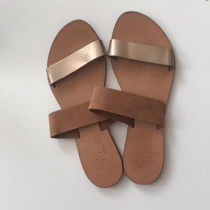 Joie 39.5 Bannerly two band slides gold tan